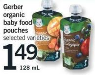 Baby Gerber Organic Baby Food Pouches - 128 Ml