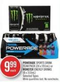 Powerade Sports Drink Team Pack (24 X 591ml) or Monster Energy Drinks (8 X 310ml)