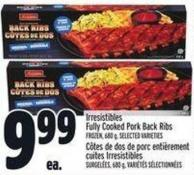 Irresistibles Fully Cooked Pork Back Ribs