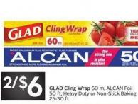 Glad Cling Wrap 60 M - Alcan Foil 50 Ft - Heavy Duty or Non-stick Baking 25-30 Ft