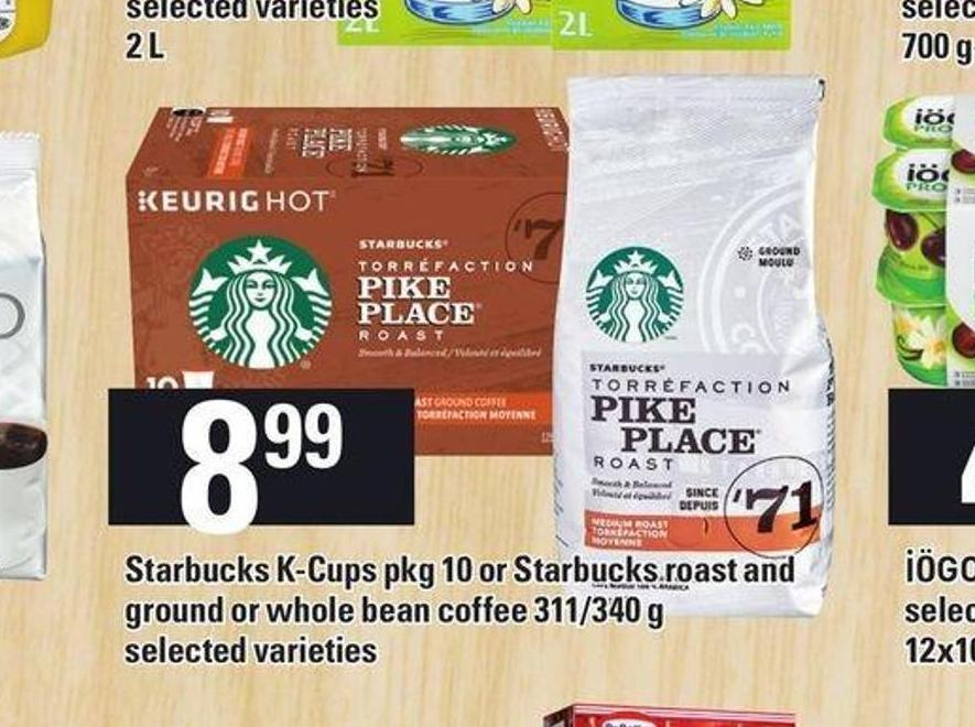 Starbucks K-cups Pkg 10 Or Starbucks Roast And Ground Or Whole Bean Coffee 311/340 G