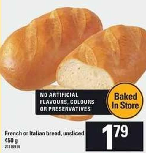 French Or Italian Bread Unsliced - 450 g