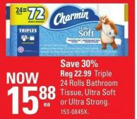 Charmin Triple 24 Rolls Bathroom Tissue - Ultra Soft or Ultra Strong