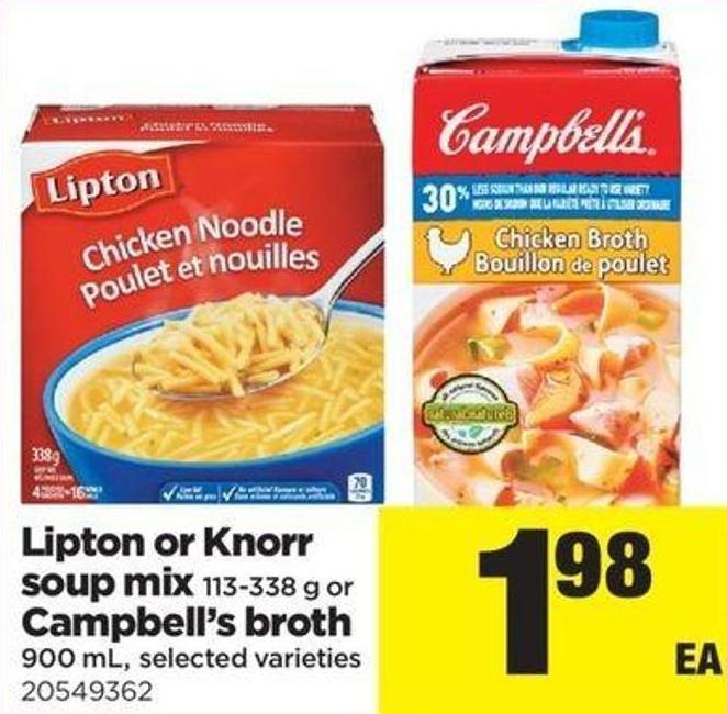 Lipton Or Knorr Soup Mix - 113-338 G Or Campbell's Broth - 900 Ml