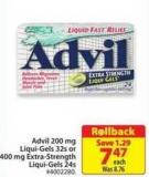 Advil 200 Mg Liqui-gels 32s or 400 Mg Extra-strength Liqui-gels 24s