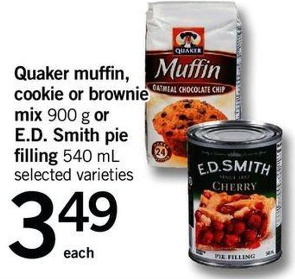 Quaker Muffin - Cookie Or Brownie Mix 900 G Or E.d. Smith Pie Filling 540 Ml