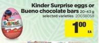 Kinder Surprise Eggs Or Bueno Chocolate Bars - 20-43 G