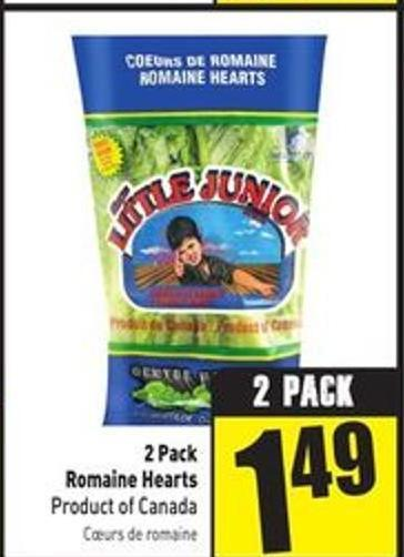 2 Pack Romaine Hearts Product of Canada