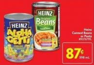 Heinz Canned Beans or Pasta 398 ml