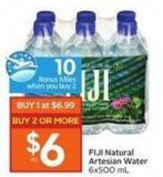 Fiji Natural Artesian Water 6x500 mL - 10 Air Miles Bonus Miles