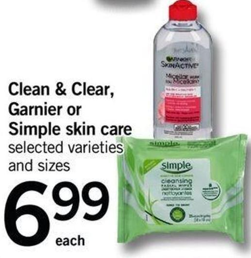 Clean & Clear - Garnier Or Simple Skin Care