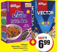 Kellogg's Raisin Bran 1.15 Kg or Vector Cereal 850 g