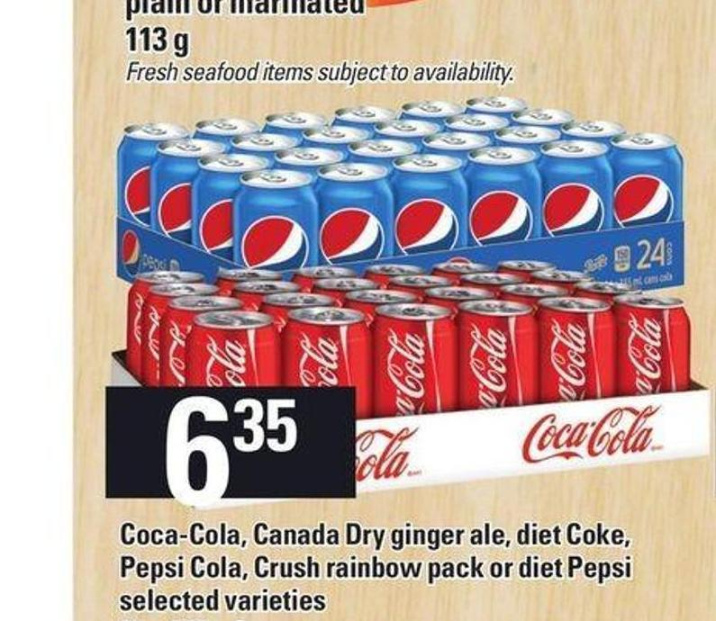 Coca-cola - Canada Dry Ginger Ale - Diet Coke - Pepsi Cola - Crush Rainbow Pack Or Diet Pepsi - 24 X 355 mL