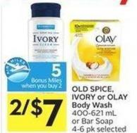 Old Spice - Ivory or Olay Body Wash 400-621 mL or Bar Soap 4-6 Pk Selected - 5 Air Miles Bonus Miles