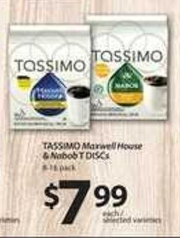 Tassimo Maxwell House & Nabob T Discs - 8-16 Pack