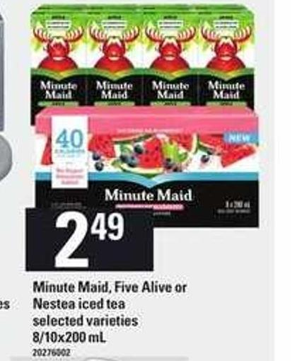Minute Maid - Five Alive Or Nestea Iced Tea - 8/10x200 mL