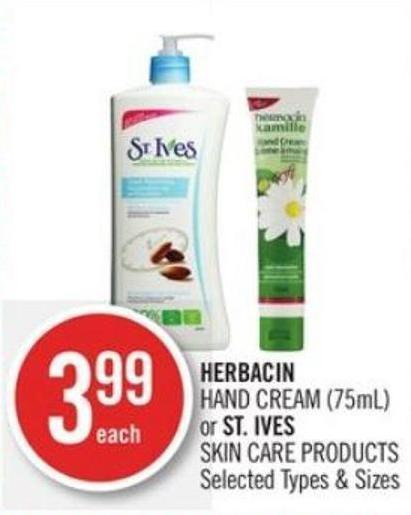 Herbacin  Hand Cream (75ml) or St. Ives Skin Care Products