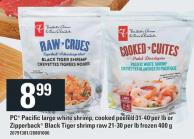 PC Pacific Large White Shrimp - Cooked Peeled 31-40 Per Lb Or Zipperback Black Tiger Shrimp Raw 21-30 Per Lb Frozen 400 G