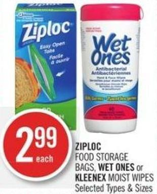 Ziploc Food Storage Bags - Wet Ones or Kleenex Moist Wipes