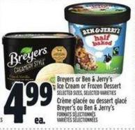 Breyers Or Ben & Jerry's Ice Cream Or Frozen Dessert