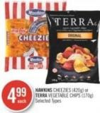 Hawkins Cheezies (420g) or Terra Vegetable Chips (170g)