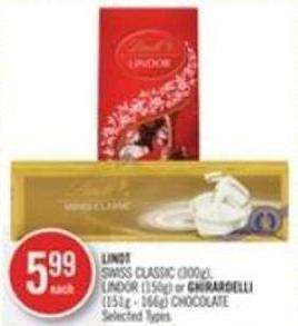 Lindt Swiss Classic (300g) - Lindor (150g) or Ghirardelli (151g - 166g) Chocolate