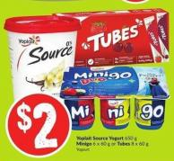 Yoplait Source Yogurt 650 g Minigo 6 X 60 g or Tubes 8 X 60 g