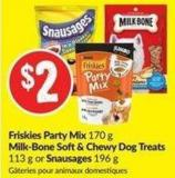 Friskies Party Mix 170 g Milk-bone Soft& Chewy Dog Treats 113 g or Snausages 196 g