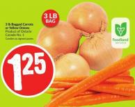 Bagged Carrots or Yellow Onions 3 Lb