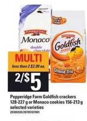 Pepperidge Farm Goldfish Crackers - 128-227 g Or Monaco Cookies - 156-213 g