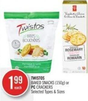 Twistos Baked Snacks (150g) or PC Crackers