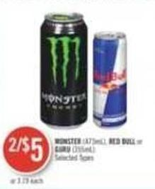 Monster (473ml) - Red Bull or Guru (355ml)