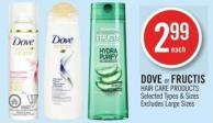 Dove or Fructis Hair Care Products