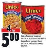Unico Beans Or Tomatoes 540 - 796 ml