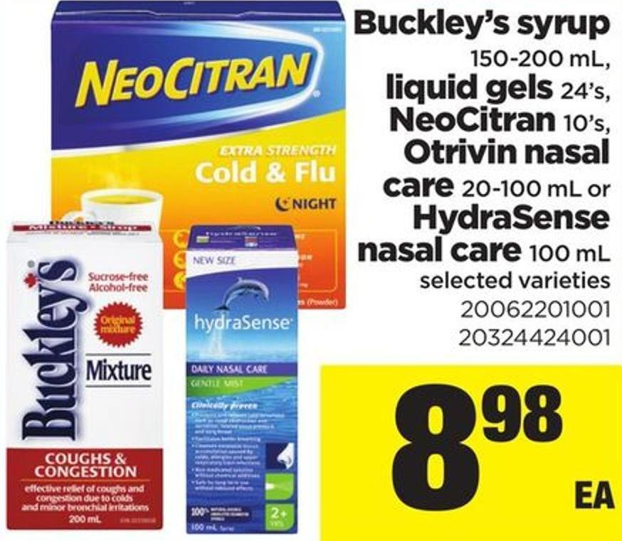Buckley's Syrup - 150-200 Ml - Liquidgels - 24's - Neocitran - 10's - Otrivin Nasal Care - 20-100 Ml Or Hydrasense Nasal Care - 100 Ml