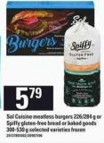 Sol Cuisine Meatless Burgers - 226/284 G Or Spiffy Gluten-free Bread Or Baked Goods - 300-530 G