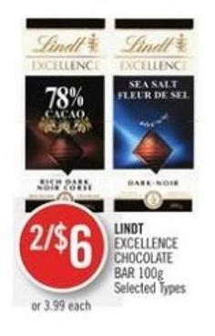 Lindt Excellence Chocolate Bar 100g
