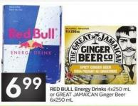 Red Bull Energy Drinks 4x250 mL or Great Jamaican Ginger Beer 6x250 mL