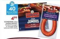 Schneiders Juicy Jumbos Wieners Smoked Sausages or Sausage Rings Selected 250-450 G- 40 Air Miles