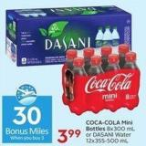 Coca-cola Mini Bottles 8x300 mL or Dasani Water 12x355-500 mL - 30 Air Miles Bonus Miles
