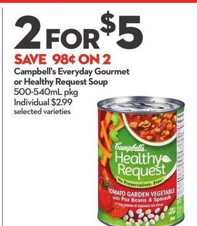 Campbell's Everyday Gourmet or Healthy Request Soup