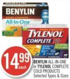 Benylin All-in-one or Tylenol Complete Cold Products