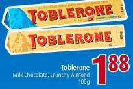 Toblerone Milk Chocolate - Crunchy Almond 100g