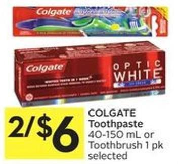 Colgate Toothpaste 40-150 mL or Toothbrush 1 Pk Selected