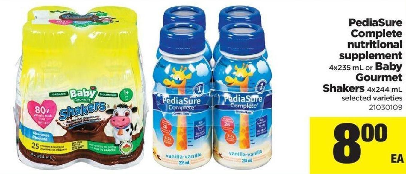 Pediasure Complete Nutritional Supplement - 4x235 Ml Or Baby Gourmet Shakers - 4x244 Ml