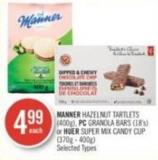 Manner Hazelnut Tartlets (400g) - PC Granola Bars (18's) or Huer Super Mix Candy Cup (370g - 400g)