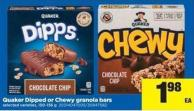 Quaker Dipped Or Chewy Granola Bars - 150-156 g