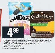 Cracker Barrel Natural Cheese Slices - 200-240 g Or Amooza! Twists Cheese Snacks - 12's