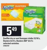 Swiffer Dry Or Wet Sweeper Cloths 12/16's - Dusters Kit 5's - Dusters 360° Kit 2's