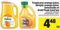 Tropicana Orange Juice - Simply Orange Juice - Lemonade Or Gold Peak Iced Tea - 2.63 L